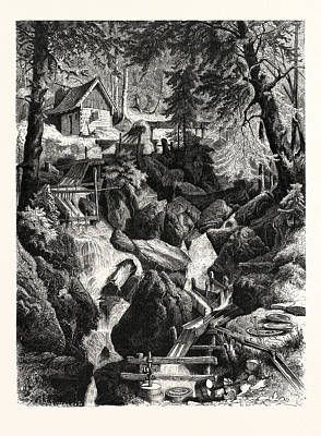 Alps Drawing - Romantic Industries Of The Alps Marble Mills by Austrian School