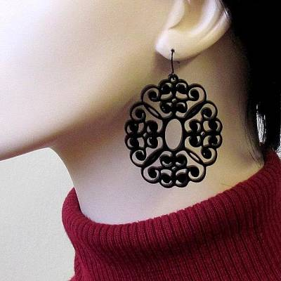 Laser Cut Gifts Jewelry - Romantic Lacy Flowers Earrings by Rony Bank