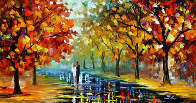 Romantic Moment - Palette Knife Oil Painting On Canvas By Leonid Afremov Original by Leonid Afremov
