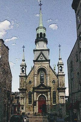 Montreal Landmarks Drawing - Montreal Notre Dame De Bonsecours Chapel by Art America Online Gallery
