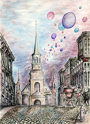 Montreal Streets Drawing - Romantic Montreal Cityscape by Art America Gallery Peter Potter