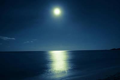 Photograph - Romantic Moonlit Night Over Ocean by Jaminwell