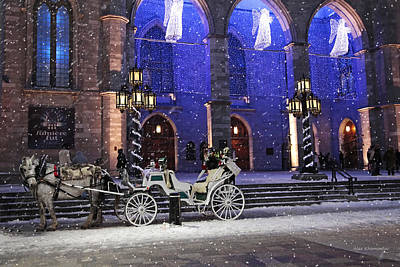 Winter Light Mixed Media - Romantic Night Lights Ride In Old Montreal?   by Alex Khomoutov