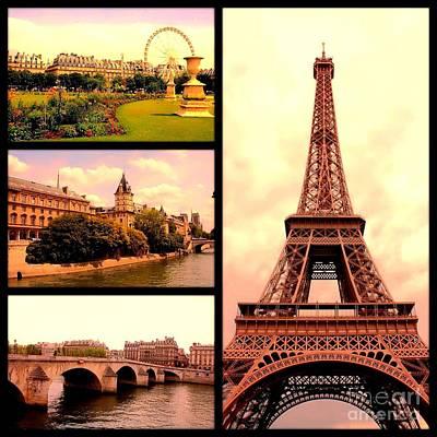 Photograph - Romantic Paris Sunset Collage by Carol Groenen