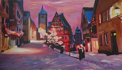 Trussed Painting - Romantic Rothenburg Tauber Germany Winter Dream Land by M Bleichner