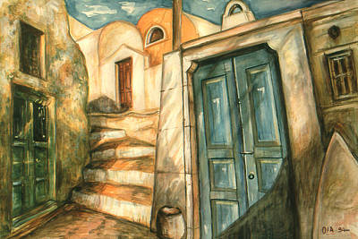 Painting - Romantic Santorini Lane - Watercolor by Art America Gallery Peter Potter