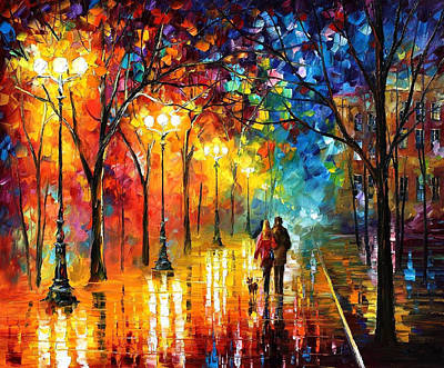 Romantic Stroll - Palette Knlfe Oil Painting On Canvas By Leonid Afremov Original by Leonid Afremov