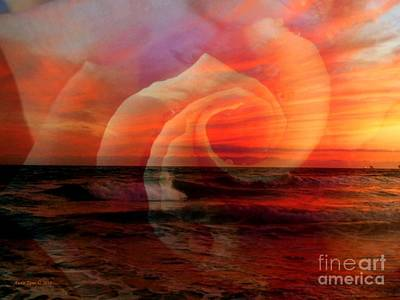 Photograph - Romantic Sunset Beach With Rose by Annie Zeno