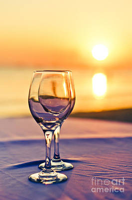 Romantic Sunset Drink With Wine Glass Print by Tuimages
