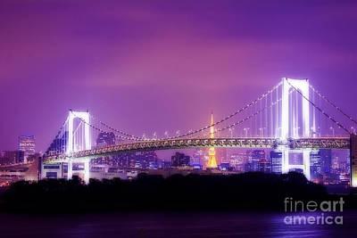 Photograph - Romantic Tokyo Tower And Rainbow Bridge At Night by Beverly Claire Kaiya