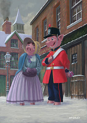 Cartoon Animals Painting - Romantic Victorian Pigs In Snowy Street by Martin Davey