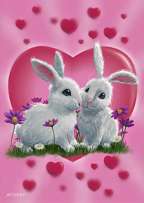 M P Davey Digital Art - Romantic White Rabbits With Heart by Martin Davey