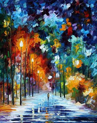 Romantic Winter - Palette Knife Oil Painting On Canvas By Leonid Afremov Original