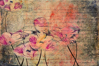 Pink Flowers Digital Art - Romantiquite - Carte Postale  by Variance Collections