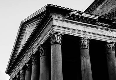Urban Photograph - Rome - A Detail Of The Pantheon by Andrea Mazzocchetti