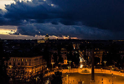 Rome Cityscape At Night  Art Print by Andrea Mazzocchetti