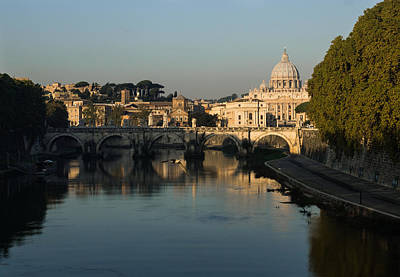 Photograph - Rome - Iconic View Of Saint Peter's Basilica Reflecting In Tiber River by Georgia Mizuleva