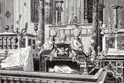 Rome Italy 1875 Altar And Monument Of St Print by Italian School