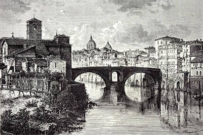 Tiber Island Wall Art - Drawing - Rome Italy 1875 Island Of The Tiber St by Italian School