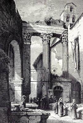 Rome Italy 1875 Portico Of Octavia Side Of The Pescheria Print by Italian School
