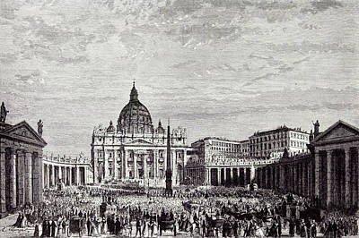 Rome Italy 1875 The Piazza Of St Art Print by Italian School