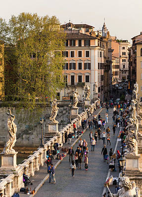 Photograph - Rome, Italy. Santangelo Bridge Seen by Panoramic Images