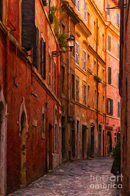 Lantern Digital Art - Rome Narrow Street Painting by Antony McAulay