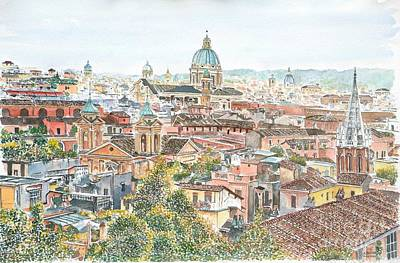 St Peters Basilica Painting - Rome Overview From The Borghese Gardens by Anthony Butera