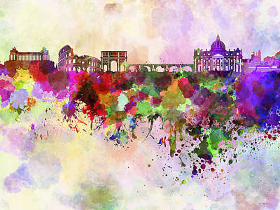 Colorful Art Digital Art - Rome Skyline In Watercolor Background by Pablo Romero