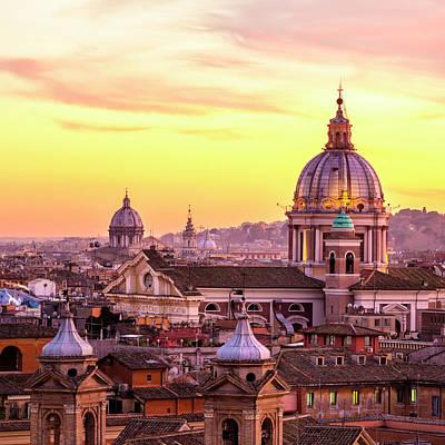 Rome Skyline With Church Cupolas, Italy Art Print by Romaoslo