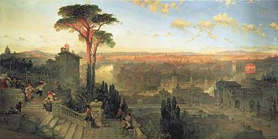 Rome, Sunset From The Convent Of San Onofrio On Mount Janiculum, 1856 Oil On Canvas Print by David Roberts