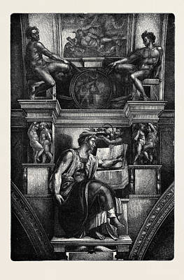 Michelangelo Art Drawing - Rome The Erythraean Sibyl, In The Sistine Chapel by Italian School