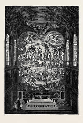 Michelangelo Art Drawing - Rome The Last Judgment, In The Sistine Chapel by Italian School