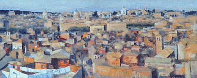 Rooftops Photograph - Rome, View From The Spanish Academy On The Gianicolo, 1968 Oil On Canvas See Also 213353 & 213354 by Izabella Godlewska de Aranda