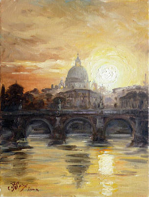 Sunset Painting - Rome View Of Vatican by Irek Szelag