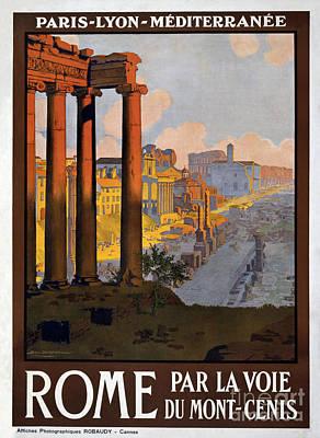 Eiffel Tower Drawing - Rome Vintage Travel Poster by Jon Neidert