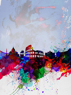 Italian Landscapes Painting - Rome Watercolor Skyline by Naxart Studio