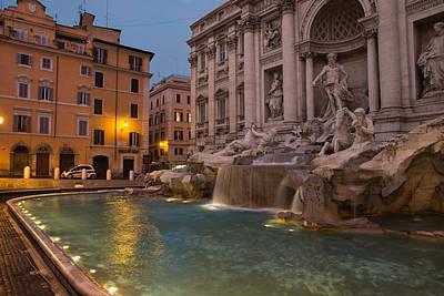 Rome's Fabulous Fountains - Trevi Fountain At Dawn Art Print by Georgia Mizuleva