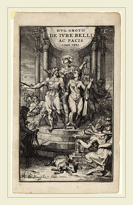 War And Peace Drawing - Romeyn De Hooghe, Law Of War And Peace Title Page by Litz Collection