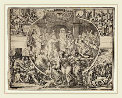 Raising Drawing - Romeyn De Hooghe, Raising Of Lazarus With Scenes by Litz Collection