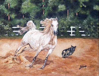 White Horse Painting - Horse Paintings Romp by Robert Lafaye