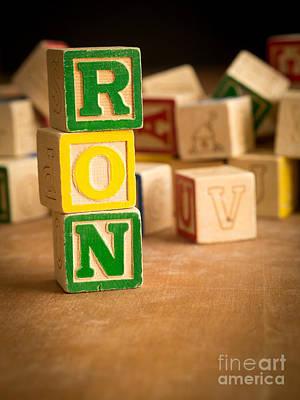 Ron Woods Photograph - Ron - Alphabet Blocks by Edward Fielding