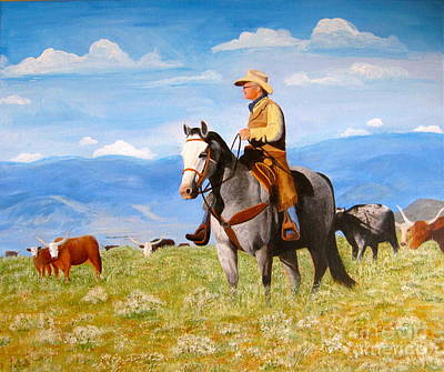 Steer Painting - Ron And  Cash At Work by Alicia  Fowler