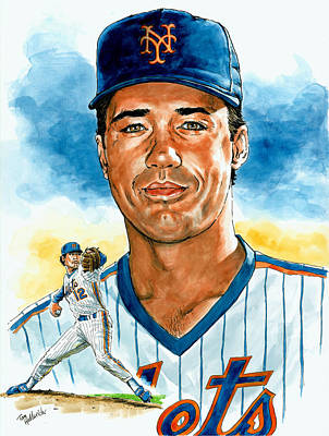 Mets Painting - Ron Darling by Tom Hedderich