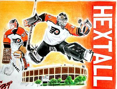 Goaltender Mixed Media - Ron Hextall by Ezra Strayer