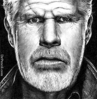 Clay Drawing - Ron Perlman As Clay Morrow by Rick Fortson