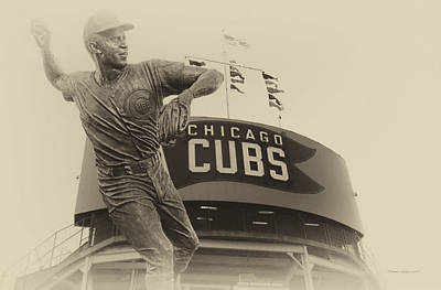 Ron Santo Chicago Cub Statue In Heirloom Finish Art Print by Thomas Woolworth