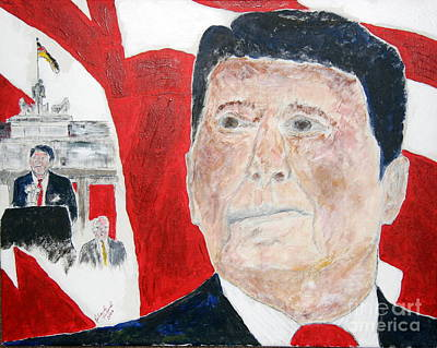 Ronald Reagan And Mikhail Gorbachev Tear Down These Walls Art Print by Richard W Linford