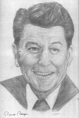 Drawing - Ronald Reagan by Bryan Bustard