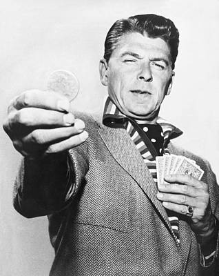 Coins Photograph - Ronald Reagan Film Still by Underwood Archives